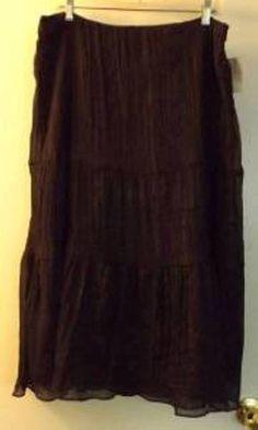 NWT WORTHINGTON Brown Metallic Thread Tiered Skirt Size 14 #Worthington #Tiered