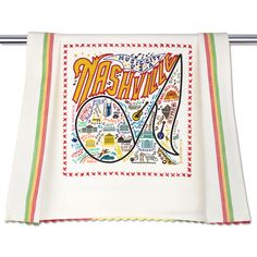 Nashville kitchen dish towels feature hand embroidered designs trimmed with colorful rick-rack.