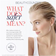 The European Union has banned more than 1,300 chemicals in their personal care products. In Canada, Health Canada maintains a current list of close to 500 chemicals that are banned for use in cosmetic products. The United States has only partially banned 30 to date. Beautycounter has banned more than 1,500 questionable or harmful chemicals. We only test our products on humans and never animals. Switch to safer Beautycounter. We all deserve better. Beautycounter.com/traceycanny