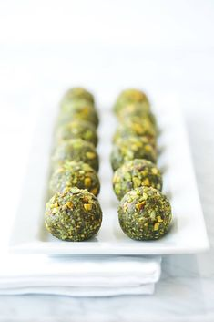 Matcha pistachio bliss balls. Gluten-free, paleo and vegan.