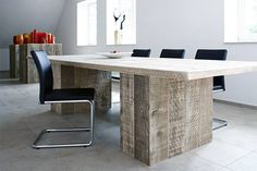A cool table made from reclaimed scaffolding boards, manufactured by Bauholz Design.