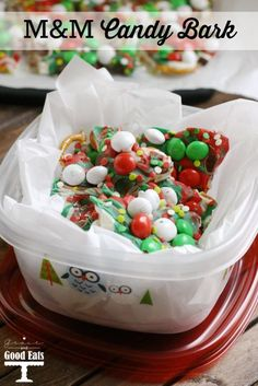 M&M Pretzel Candy Bark- so yummy, and perfectly giftable for the holidays My Recipes, Baking Recipes, Sweet Recipes, Holiday Recipes, Favorite Recipes, Holiday Treats, Christmas Recipes, Chocolate Candy Recipes, Dessert Chocolate