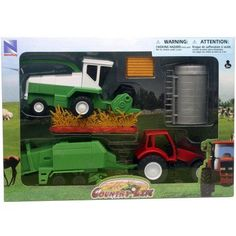 Country Life Farm Tractor and Harvester Set, Green