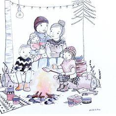 Oh wat staat dit hoog op mijn verlanglijstje! Een tekening van mijn eigen gezin in deze style en setting!! Tekening bij Marieke ten Berge Family Illustration, Illustration Art, Workshop, Mother And Child, Winter Time, Line Drawing, Painting Inspiration, Warm And Cozy, Poppies