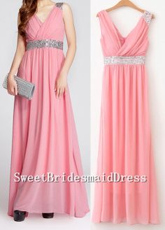 V-neck Strap Sleeveless Chiffon Beadings Long Dress Prom Dress Evening Dress Wedding Dress Bridemaids Dress Formal Dress Cocktail Dress