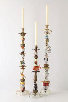 Trinket and Treasure Candlestick...an assortment of found knickknacks...fun!