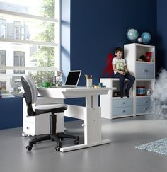 3 Drawer Unit on Castors (Solid Wood) – White by Lifetime Kidsrooms 155-10 for desk storage for kids with cubic handles