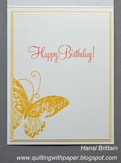 Quilting With Paper: A CAS Birthday Card in Yellows and Orange