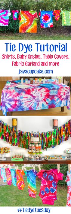Tie Dye Tuesday: Learn how to Tie Dye! Shirts, baby onsies, table covers, fabric garland and more! | JavaCupcake.com