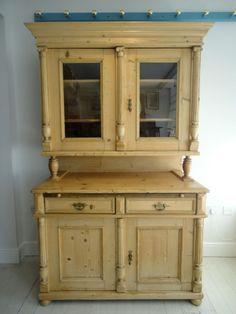 Large Antique 19thC Continental Stripped Pine Kitchen Dresser