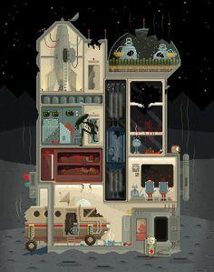 "Spot the difference… ""Midnight Carnival"" & ""Moon Base"" (Halloween Edition) :S Pixel Art illustrations by Octavi Navarro. http://www.pixelshuh.com"