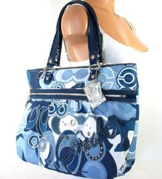 NEW AUTHENTIC COACH POPPY POP C DENIM GLAM TOTE (Silver/Blue Jean Multi) Combining functionality with elegance, this soft structured Poppy Glam Tote comes in Pop C Denim Signature. Decorated  with appliqué detail, silver trim, studs, grommets and multi hangtags, it is very spacious and features a double handles/shoulder straps with 8.5 inch drop. ~Guranteed Authentic Coach~.