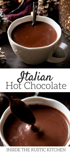 Thick and decadent Italian hot chocolate made from scratch. It's so easy to make and is ready in under 10 minutes. Thick, smooth and creamy hot chocolate, a perfect festive treat. via Inside the rustic kitchen Italian Hot Chocolate Recipe, Thick Creamy Hot Chocolate Recipe, Best Hot Chocolate Recipes, Köstliche Desserts, Dessert Recipes, Yummy Drinks, Yummy Food, How To Make Chocolate, Chocolate Chocolate