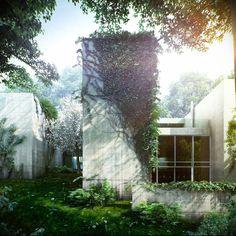 Renderings by Viktor Fretyan of a house at Normafa, Budapest designed by Satoshi Okada.