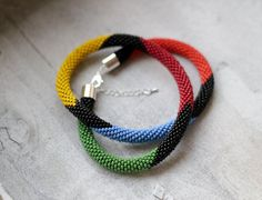 Colorful Necklace, Tribal Multicolor Necklace, Bead Crochet Rope Necklace, Colorful Jewelry, Multicolor Jewelry on Etsy, $45.00