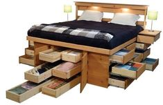 Decorate your room in a new style with murphy bed plans Bed Frame With Drawers, Platform Bed With Drawers, Bed Frame With Storage, Platform Beds, Platform Bed Storage, Queen Beds With Storage, Queen Size Storage Bed, Bed Drawers, Large Drawers