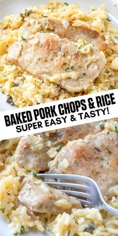 Easy, herby and flavorful this Baked Pork Chops & Rice recipe is a fork tender, filling dinner recipe that the whole family can and will enjoy. Easy Pork Chop Recipes, Meat Recipes, Crockpot Recipes, Cooking Recipes, Pork And Rice Recipes, Easy Dinner Recipes Pork, Baked Pork Chops And Rice Recipe, Healthy Pork Chops, Gourmet