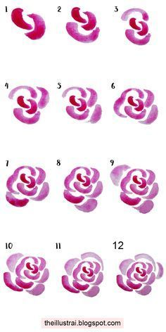 The Illustrai: How to Create Watercolor Roses Learn how to create simple abstract watercolor roses in this tutorial Watercolor Rose, Watercolour Painting, Painting & Drawing, Watercolors, Simple Watercolor Flowers, Drawing Step, Simple Flowers, Watercolor Portraits, Watercolour Tutorials