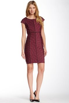 Laundry Faux Leather Seam Detail Dress (Petite) by Laundry on @HauteLook