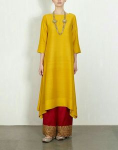 Yellow and red golden embroidery plazoo pant..