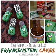 These are so cute! Halloween food easy ideas for kids treats, Frankenstein Cakes Fast and Easy Halloween treats for kids, Halloween party food and easy recipes