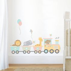 A lovely pastel jungle train wall sticker.This wall sticker is part of a range designed to compliment each other, you can pick and choose to suit your room design or use on it's own. http://www.notonthehighstreet.com/nutmeg/product/pastel-jungle-train-abc-wall-sticker http://www.notonthehighstreet.com/nutmeg/product/pastel-jungle-train-elephant-wall-sticker http://www.notonthehighstreet.com/nutmeg/product/pastel-jungle-train-giraffe-wall-sticker…