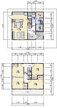 26坪4LDKコンパクトな二階建ての間取り | 理想の間取り House Layout Plans, Small House Plans, House Layouts, House Roof, My House, Model House Plan, Floor Plans, Flooring, How To Plan