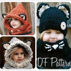 [ 72% OFF ] Fox Ear Scarf Caps Set Winter Hats Children Warm Neck Wrap Cute Wool Knitted Hats Kids Shawls Crochet Hat