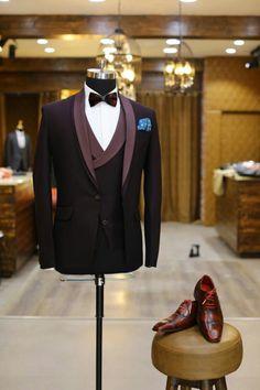 Purple Slim fit Wedding Tuxedo for Men Prom Suit Three Pieces (jacket+vest+pants) - suits men - Wedding Dress Men, Tuxedo Wedding, Wedding Tuxedos, Men Wedding Suits, Prom Tuxedo, Wedding Gifts, Indian Men Fashion, Mens Fashion Suits, Dress Suits