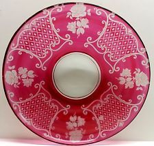 Cranberry Flash Glass Red Etched Rose Pattern Large Tray Platter Plate Vintage