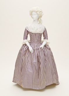 Woman's Robe à l'Anglaise  France, 1785-1790  Costumes; principal attire (entire body)  Silk twill and silk plain-weave stripes  Center back length: 62 in.