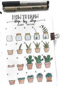 Bullet journal drawing ideas, bullet journal plant drawing tutorial. | @couleursduvent