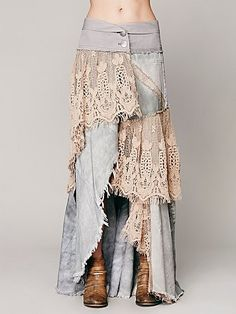Normally I hate long jean skirts made from old jeans, but the lace could make it cute, if the denim is thin enough. Mode Hippie, Mode Boho, Altered Couture, Denim And Lace, Diy Clothing, Sewing Clothes, Sewing Jeans, Gypsy Clothing, Bohemian Style