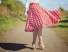 ASOS red gingham circle skirt