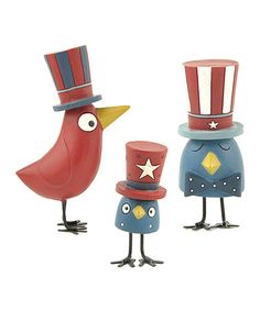 Take a look at this Patriotic Bird Figurine Set by Blossom Bucket on #zulily today!