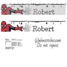 Cross stitch male baby name Robert with Spider Man