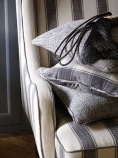 from Clarke & Clarke's Fairmont book Fabric Houses, Monochrome, Taupe, Charcoal, Household, Throw Pillows, Blanket, Black And White, Fabrics