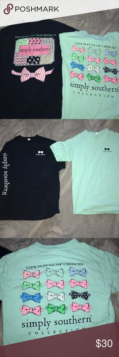 """Short sleeve Simply southern shirt teal short sleeve that says """"Life is Full of Choices"""" from the Simply Southern Collection in very good used condition size medium Simply Southern Tops Tees - Short Sleeve"""