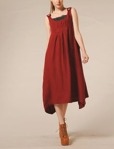 Red Dress Linen Sundress with pockets / Party Dress- Custom Made
