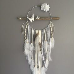 Dream catcher / dreamcatcher / dream catcher with driftwood, origami, feathers and wooden beads Dreamcatchers, Diy And Crafts, Arts And Crafts, Origami Butterfly, Creation Deco, Metallic Paint, String Art, Wooden Beads, Dream Catchers