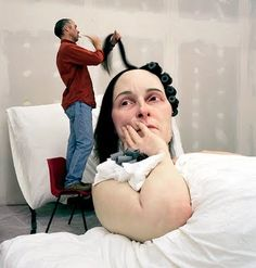 Ron Mueck. Scale and proportion. This sculpture is monumental in real life but could appear to be life size if photographed.