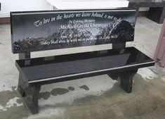 Granite Memorial Garden Bench set at Saint Gail Catholic Church in Gardnerville, NV.   Pacific Coast Memorials
