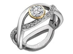 Two-Tone Gold Diamond Infinity Bezel Engagement Ring 0.35 tcw.