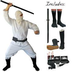 Supreme White Modern Ninja Costume (5pc)