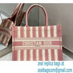 Dior Small Book Tote Bag in Stripes Embroidery Pink 2021