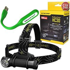 Nitecore HC30 1000 Lumens CREE XML2 U2 LED dualform compact headlamp bundled with EdisonBright USB powered LED reading light * You can get more details by clicking on the image.