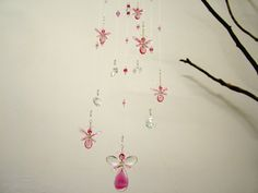 Pink Fairy Chandelier Mobile Pink Angel Ornament by bytheartisan