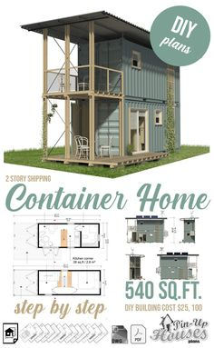 Small Cabin Plans, Small House Floor Plans, Home Design Floor Plans, Container House Design, Tiny House Design, Shipping Container House Plans, Shipping Containers, Building Costs, Model House Plan