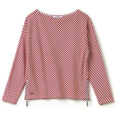 Red Women's Nautical Crew Neck Sweatshirt in Striped Jacquard ($175) ❤ liked on Polyvore featuring tops, hoodies, sweatshirts, red striped top, graphic sweatshirt, graphic print sweatshirts, red crew neck sweatshirt and crew neck sweatshirts