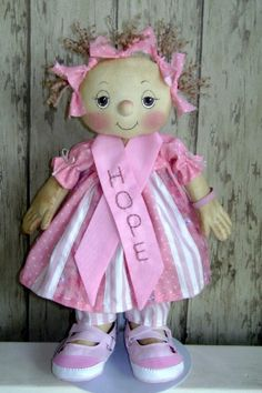 HOPE – BREAST CANCER AWARENESS-e-pattern,primitive,pattern,cloth,doll,cloth doll,doll pattern,cancer doll,charity doll,cancer awareness